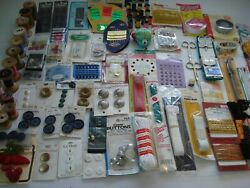 100+ Lot Of Sewing Notions-new/vintage-trims -threads-needles-scissors-zippers-