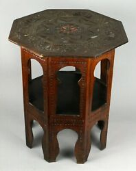 =antique 19th C. Octagonal Chip Carved Side Table Lamp Stand Indo British W Mop