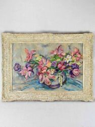 1950's Floral Still Life Of Fatigued Tulips Signed Gianelli 27¼ X 36½