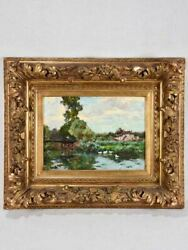 Antique French Landscape Scene - Fishing From A Bridge With White Ducks 18½ X 2