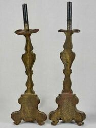 Pair Of Fatigued Italian Tole Candlesticks From A Church 22¾