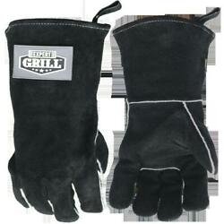 14 Insulated Heat Resistant Leather Bbq Gloves By Expert Grill, Black Color