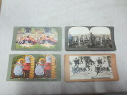 4 Stereopticon Cards Black Americana Stereoview Stereoscope Lot101