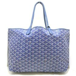 Auth GOYARD Saint Louis PM Navy Brown White Coated Canvas Leather Tote Bag $846.00