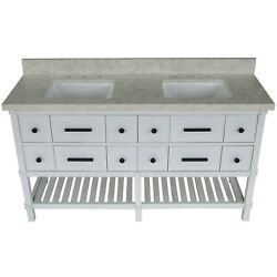 60 Inch White Double Vanity With Marble Top, Solid Mahogany Base