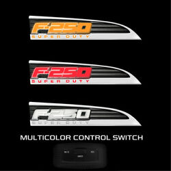 Recon 11-16 Ford F-250 Superduty Illuminated Emblems Side Fender In Chrome