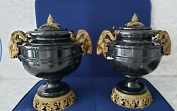 Pair Black Marble Urns With Ormolu Mounts And Rams Head Masks