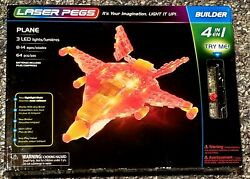 Laser Pegs 4 In 1 Plane 3 Led Lights 64 Piece Building Set New In Retail Box