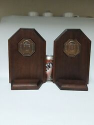Wurlitzer 850 Peacock Jukebox Bookends Set Wood And Brass