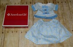 New In Box American Girl Doll Marie Grace Marie Grace's Blue Floral Skirt Set