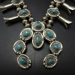 Vintage Navajo Sterling 925 Apache Blue Webbed Turquoise Squash Blossom Necklace