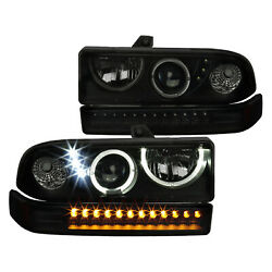 For Chevy 98-04 S10 Blazer Bk Smoke Halo Projector Headlights+led Bumper Lamps