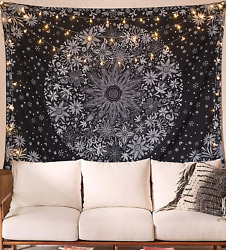 Wall Hanging Tapestry Bohemian Black White Floral Boho Home Decoration 60x80 In