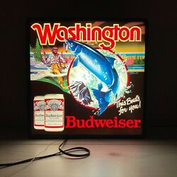 1986 Budweiser Beer Light Sign Washington Fishing Trout This Bud's For You Pnw