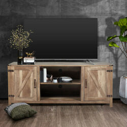 58 Farmhouse Barn Door Tv Stand Wooden Media Console W/ Shelves For 65'' Tvs