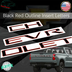 Tailgate Letters Inserts For Chevrolet Silverado Hd 2019-2020 Black Red Outline