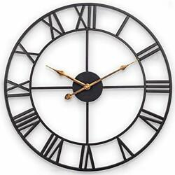 Large Wall Clock, 30 Inch European Industrial Vintage Clock With Roman Numerals