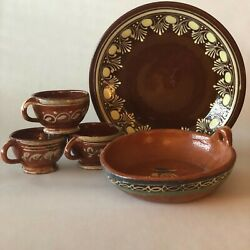 Vintage Mexican Pottery, Lot Of 5, Red Clay Cups And Bowl, Brown And Yellow Plate