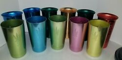 Aluminum Colorful Tumblers Cups Vintage Mcm - Lot Of 11 West Bend Italy