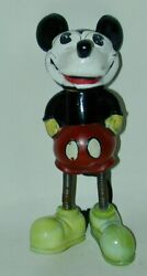 Mickey Mouse Cast Glass Figural Perfume Bottle W/ Spring Legs Germany 1930s