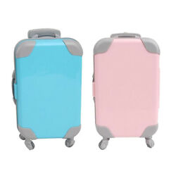 2x Lovely Plastic Doll Suitcase 3d Trunk For 18 Inch Baby Doll Kids Toys