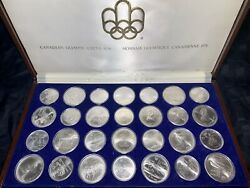 1976 Montreal Olympics 28 Coin Set 30.24 Troy Oz Of Pure Silver - Uncirculated
