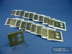 20 Leviton 2g Solid Brass Receptacle Outlet Cover Wallplate Switchplates 81005