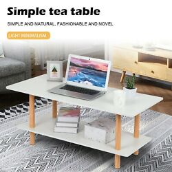 With Wooden Legs Two-story Living Room Coffee Table Household Square Tea Table