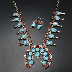 Lovely Navajo Sterling Silver Red Med Coral Turquoise Necklace And Earrings Set