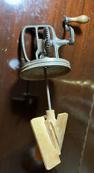 Antique Butter Churn Top Only Hand Crank W/wood Paddles