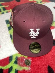 Hat Club Exclusive 7 1/2 New York Mets Merlot Wine 50th Anniversary Patch Green