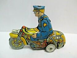 Marx Police Motorcycle W/ Rider 4.5 Wind-up--tested Works Good