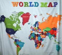 World Map Wall Hang Tapestry Or Use As Table Cloth 57quot;x 77quot;