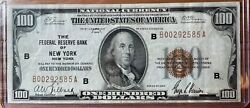 1929 100 Brown Seal Federal Reserve Bank Note Of New York National Currency