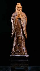 54and039and039 Natural Nanmu Wood Hand-carved Chinese Philosopher Educator Confucius