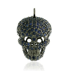 Christmas Gift Blue Sapphire Sterling Silver Skull Charm Pendant Sale Jewelry
