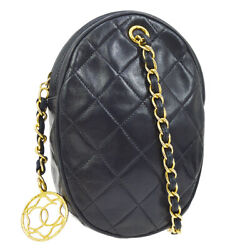 Quilted Cc Single Chain Shoulder Bag Navy Leather Vintage Ak38188b