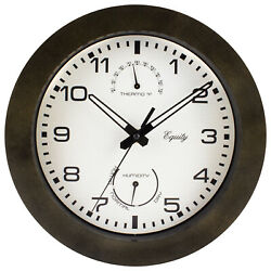 29005 Equity by La Crosse 10quot; Indoor Outdoor Wall Clock with Temp amp; Humidity