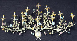 Italian Tole Flowers And Leaves Wall Light Fixture 10 Branch, 5 Ft, Hand Painted