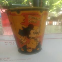 1930's Happynak Disney Sand Pail W/ Donald Duck Mickey Mouse And Little Pig