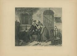 Antique Victorian Woman House Cottage Old Man Eye Spinning Wheel Distaff Print
