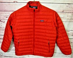 Goose Down Quilted Rare Red Puffer Puffy Sweater Jacket Menand039s Size Xl