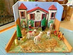 Exceptionally Rare Menagerie Putz Scene Sheep Dog Chickens Germany Antique Toy