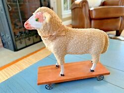 Sheep On Wheels Pull Toy Germany German Glass Eyes Wooly Antique Toy Putz