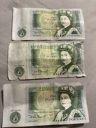 3 Lot Of Great Britain One Pound Bank Of England Isaac Newton