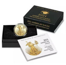 2021-w 1/2 American Eagle One-half Ounce Gold Proof Coinandnbspty. 2 Confirmed Shipped