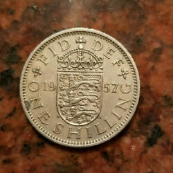 1957 Great Britain One Shilling Coin - English Crest - A5212