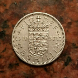 1957 Great Britain One Shilling Coin - English Crest - A5214