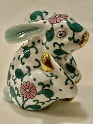 Herend Siang Blanc Bunny Scratching Rare- Estate- Mint