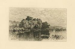 Antique Windsor Connecticut Mill Pond July A. F. Bellows Original Etching Print